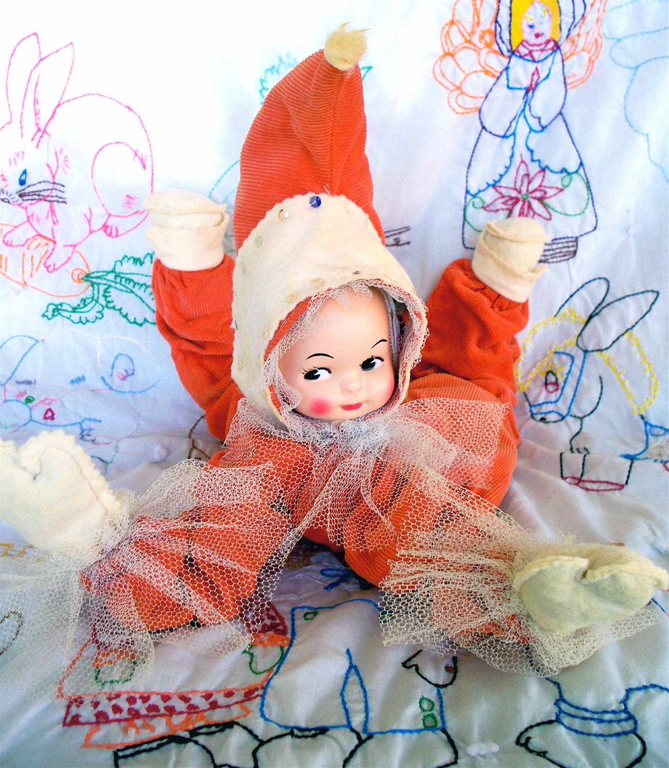 "Vintage  Kitsch Jester Clown 18"" pumpkin orange Baby Doll Bed Doll"