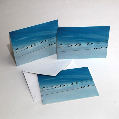 Blank Photography Note Cards - Photography card - Birds on a Wire against a bright blue sky - stationary thank you cards birthday - PhotoLadz