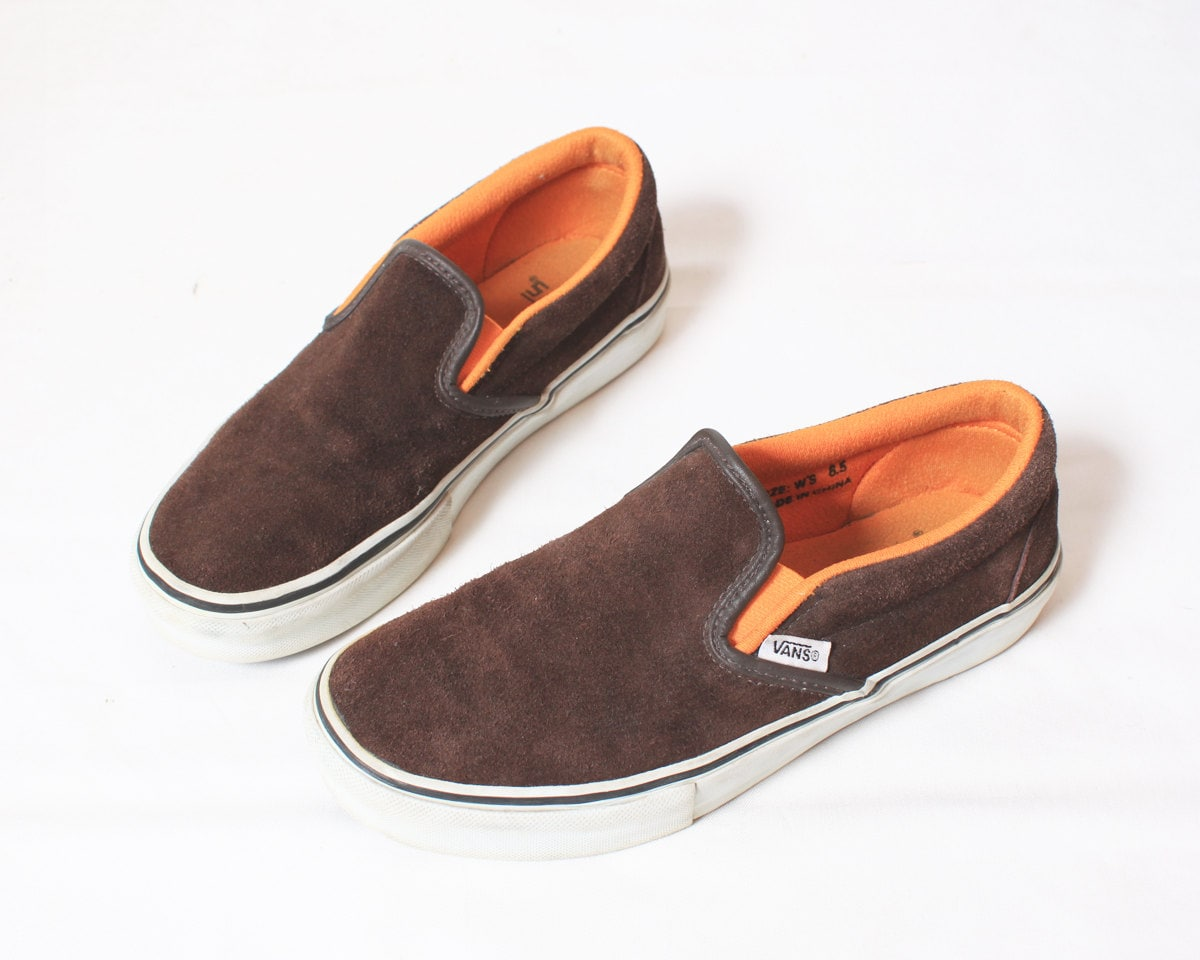 Vans Authentic Slip On Shoes in Brown Suede - Size 6.5 6 1/2 37 - RagRichVintage