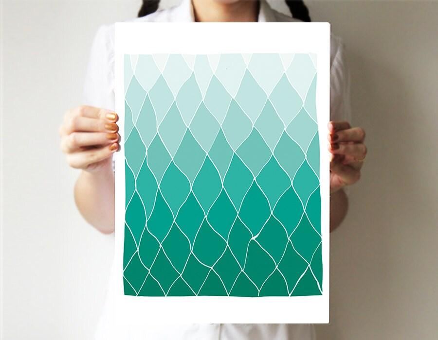 "Geometric print 11""x14"" - Mint - Hands drawing base - Abstract art - Spring art - Rhombus - Ombre art - villavera"