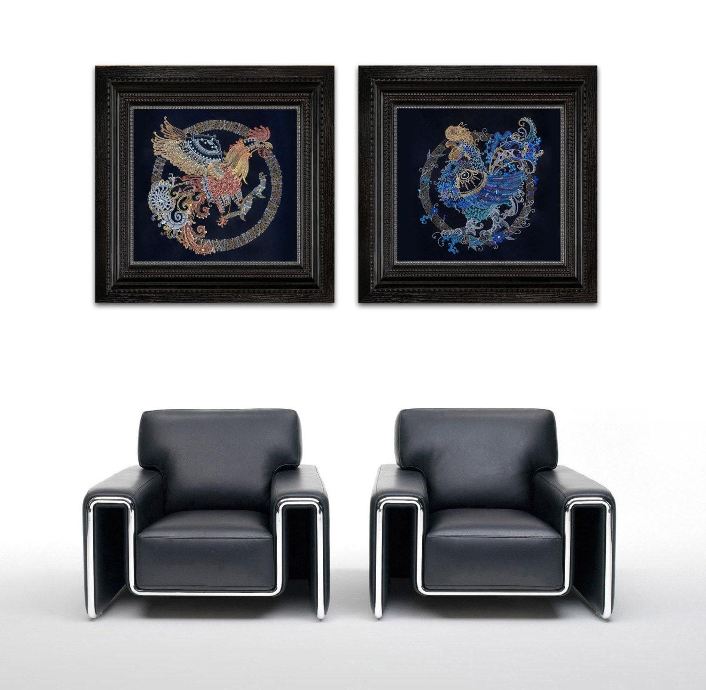 "Original Painting 17""x22"" Modern Rooster Art Painting  FREE SHIPPING - NikaGalleryArt"