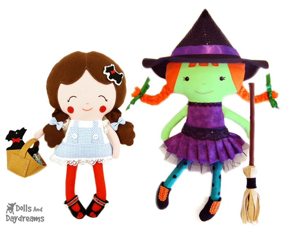 Wizard of Oz Sewing Pattern PDF Play Set e book - Dorothy Doll Toto Dog Softie & Wicked Witch of West  Stuff Toys - Set 1 - DollsAndDaydreams