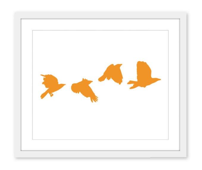 Crows in Flight Wall Art Modern Home Tangerine Orange - AldariArt