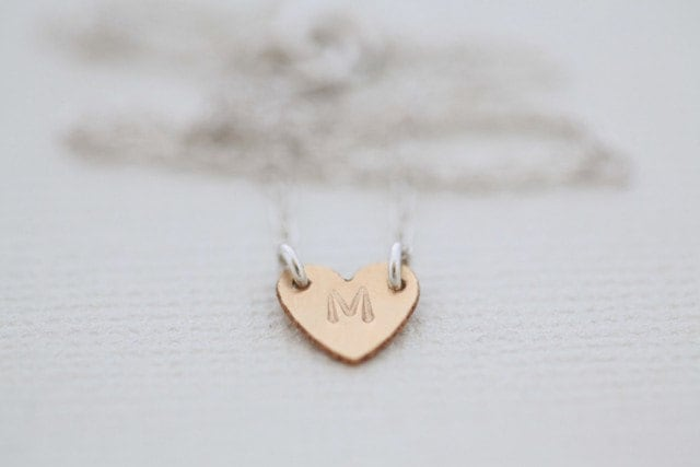 For your bridesmaid - Gold filled Initial tiny heart necklace by hand stamp - gold filled heart with sterling silver chain - MADE TO ORDER