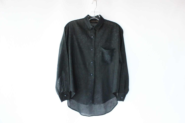 80s Black Sheer Blouse - Vintage Floral Print Long Sleeve Button Up Shirt - M - paisleyfacevintage