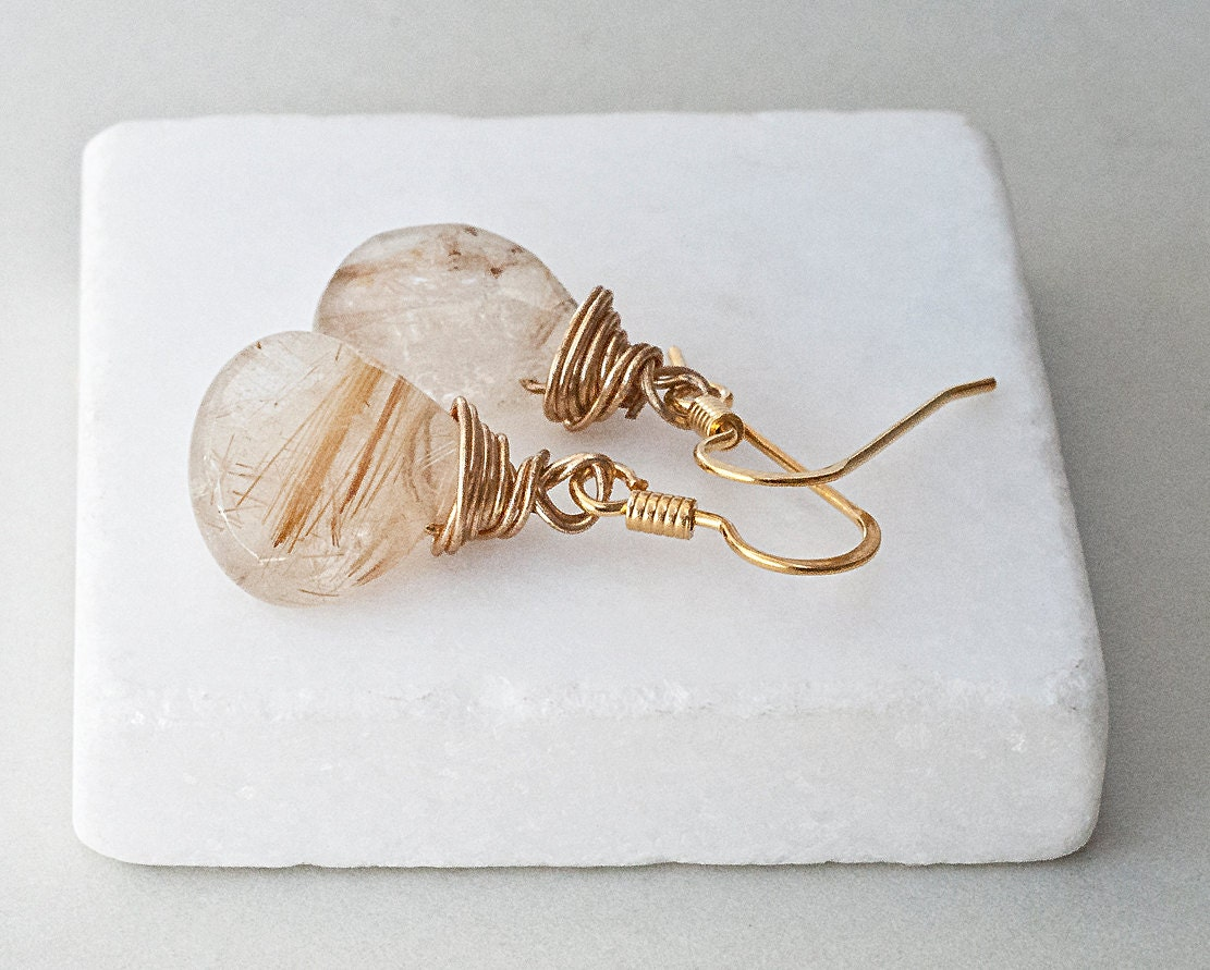 Earrings - Golden Rutilated Quartz Earrings - PiscesAndFishes
