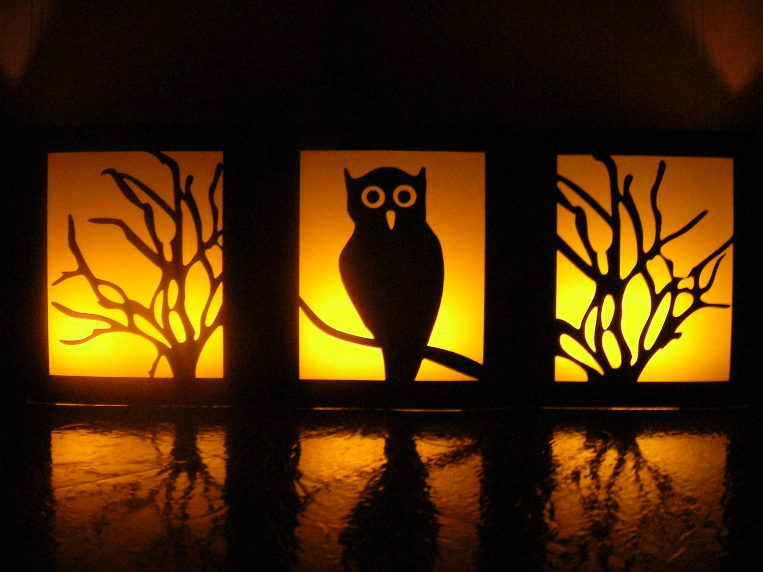 Night Owl Halloween Table Luminaries -- Set of 3