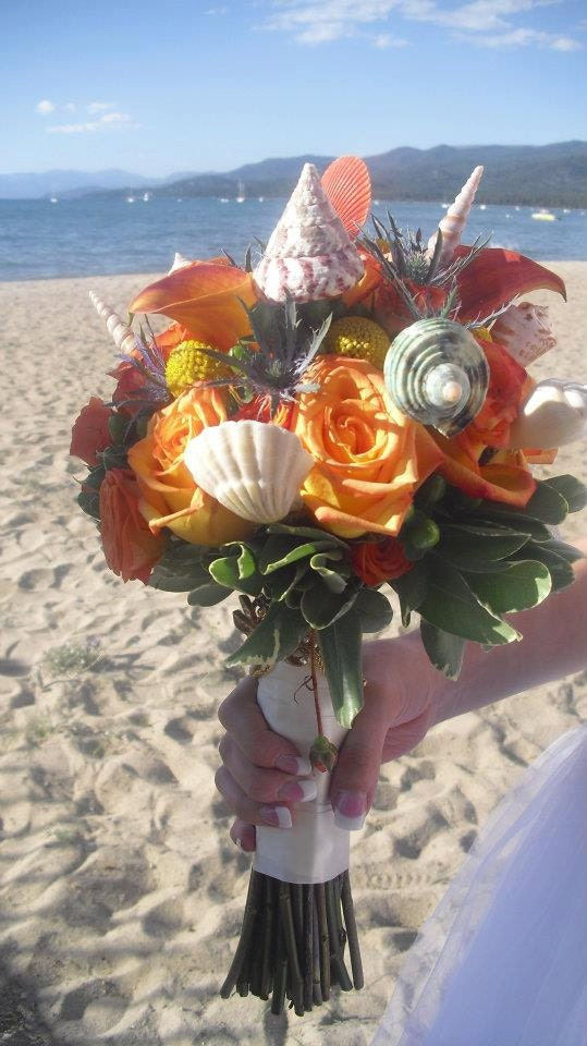 ARIEL'S SHELLS 12pc - Beach Bride / Nautical Wedding Bouquets / Bridal Reception Centerpieces, Natural Sea Shell Picks w/ Moss & Wired Twigs