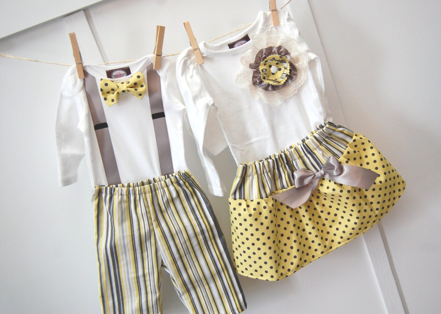 Easter sibling set Pictures Boys Tie Girls Dress Yellow Citron Gray Grey Sisters Brothers  Bow Tie Skirt Pant 2pc SET - trendysisters