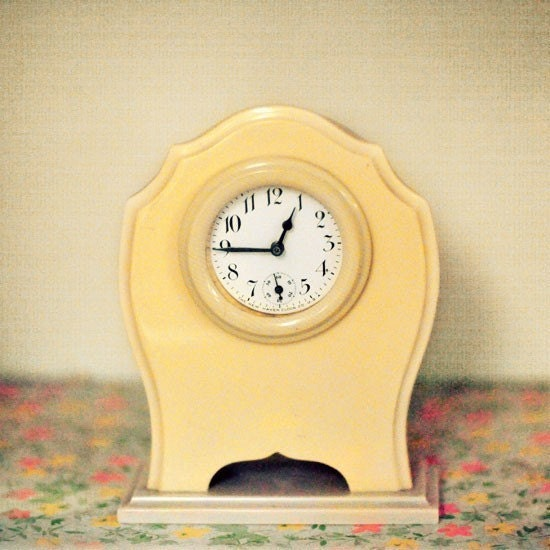 retro modern photograph - Tickety Tock 8x8 Print - butter yellow vintage clock quirky minimal photography - alicebgardens