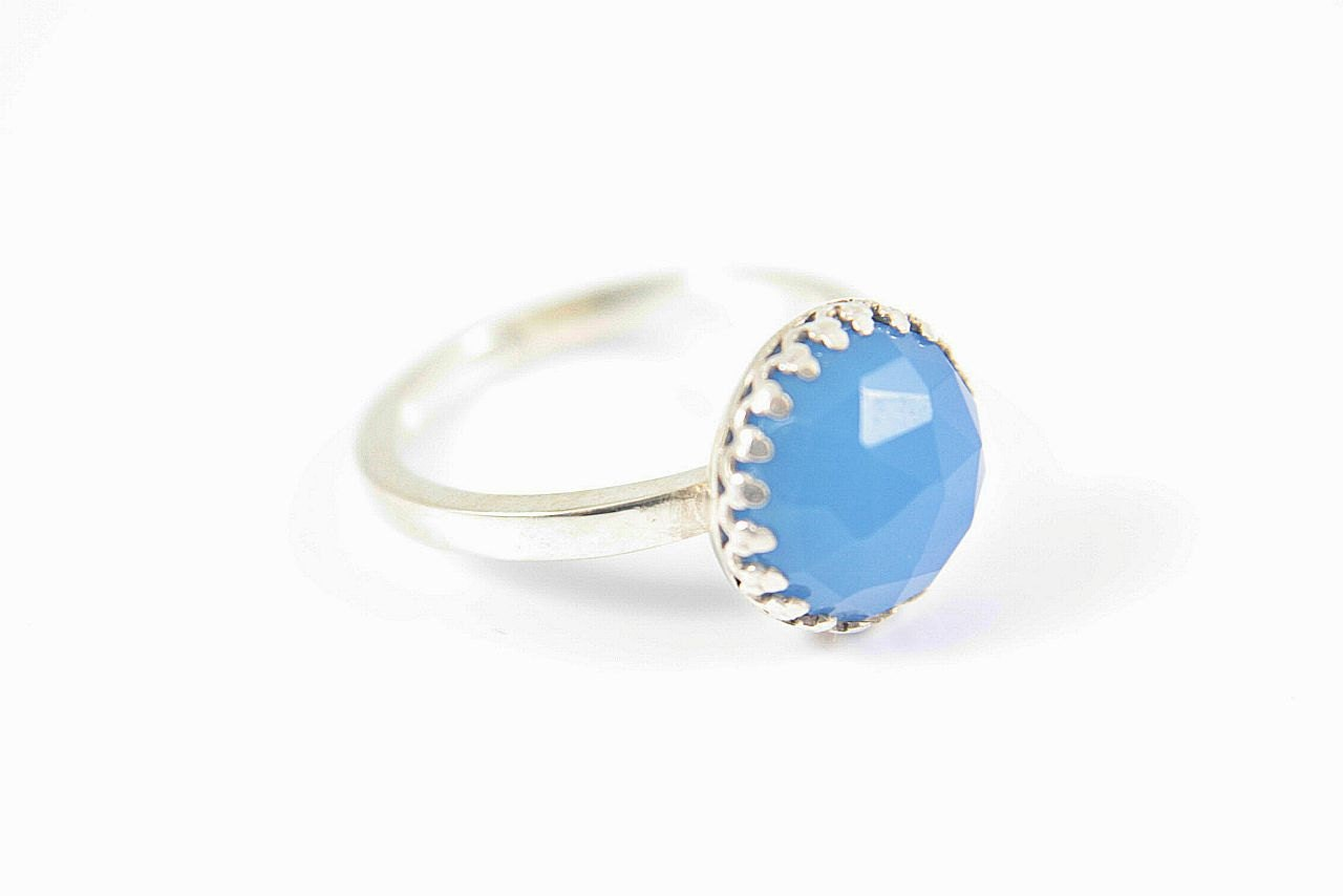 Blue Chalcedony Ring made in your size Sterling Silver Stacking Size 6 Silversmithed Metalsmithed - ManariDesign