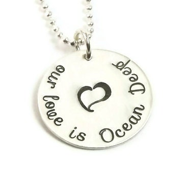 Our Love Navy Wife Necklace  - Sterling Silver Hand Stamped - StephieMc