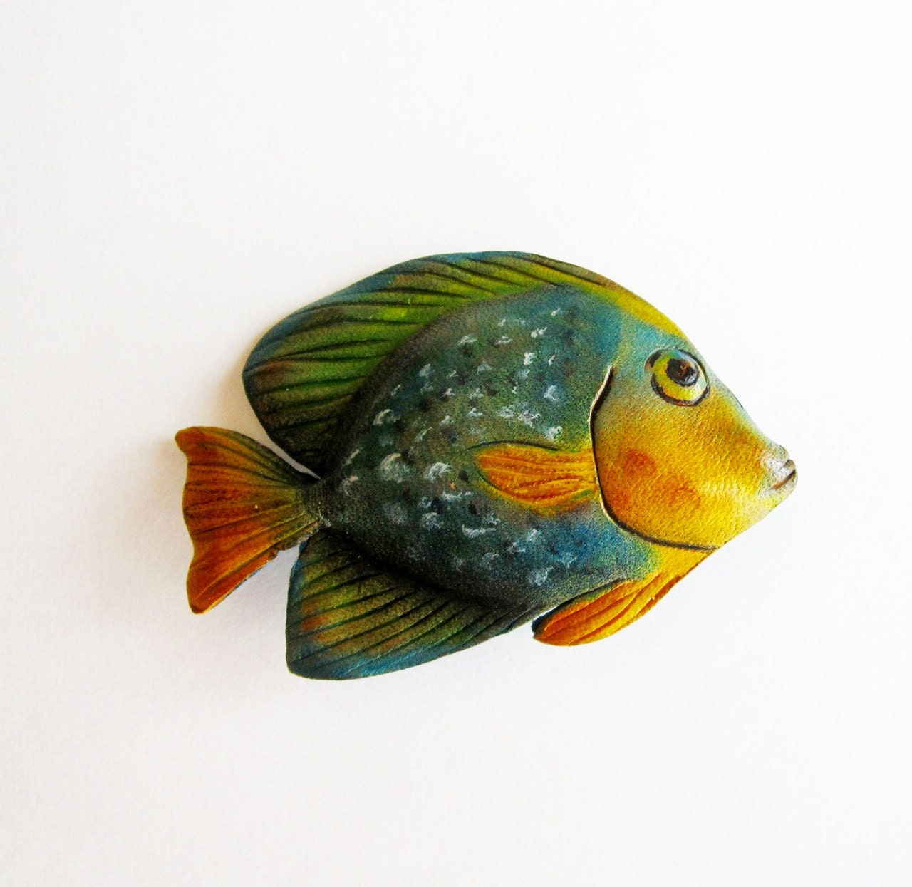 Leather Fish Brooch in Blue Green and Yellow Vintage - Latrouvaille
