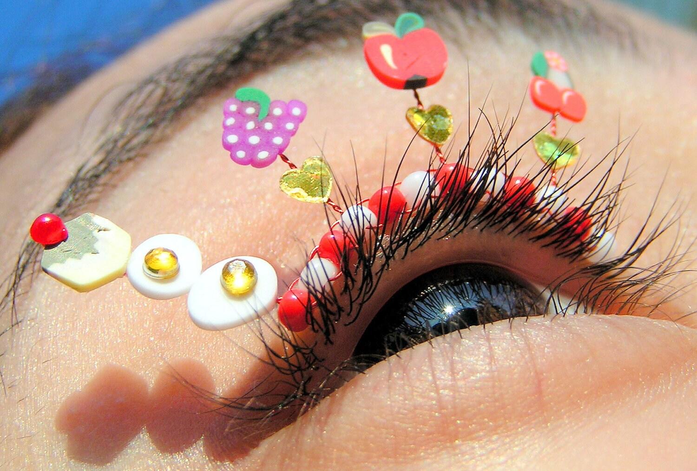Summer Picnic Eyelash Jewelry - false eyelashes with miniature fruit, cherries, apples, grapes, eggs