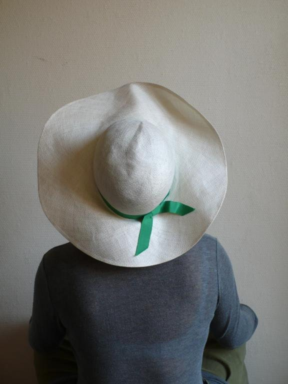 Vintage hat, wedding, summer, sunhat, holiday, large brim, green,  cream straw, paris, french vintage accessories by ancienesthetique - ancienesthetique
