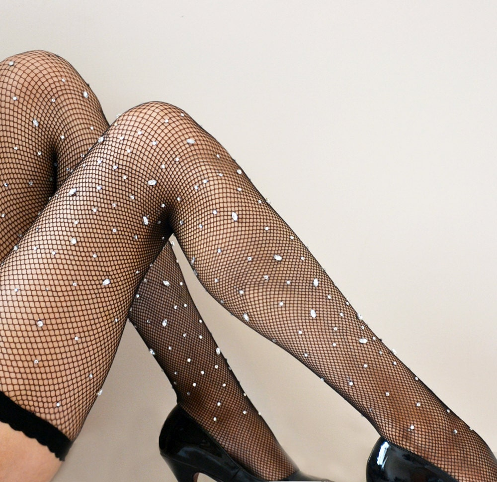 Sprinkle Black Fishnet  Hold ups Stockings with Diamond Gemstones - Lalilouche