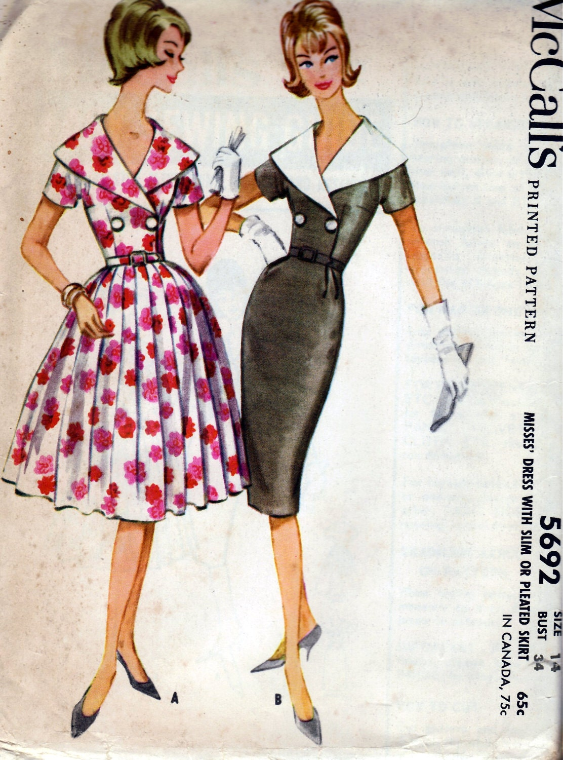 1960 Misses' Dress With Slim or Pleated Skirt  McCall's 5692  Size 14  Bust 34  Factory Folded