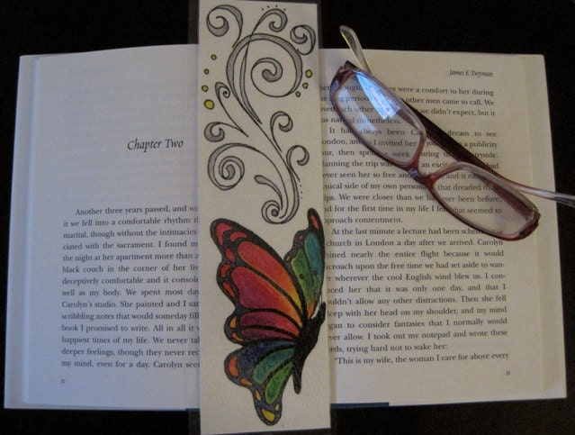 Handmade Original Artwork, One of a Kind Bookmark, Pink, Blue, Green, Orange, Colorful Butterfly