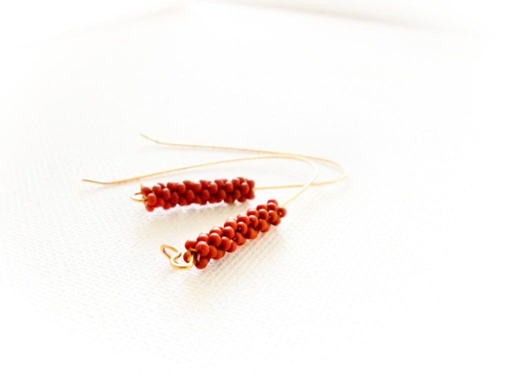 Autumn minimalist African jewelry Terracotta beaded beads dangle earrings. Brick design - seed beads jewelry gift idea tbteam - CallOfEarth