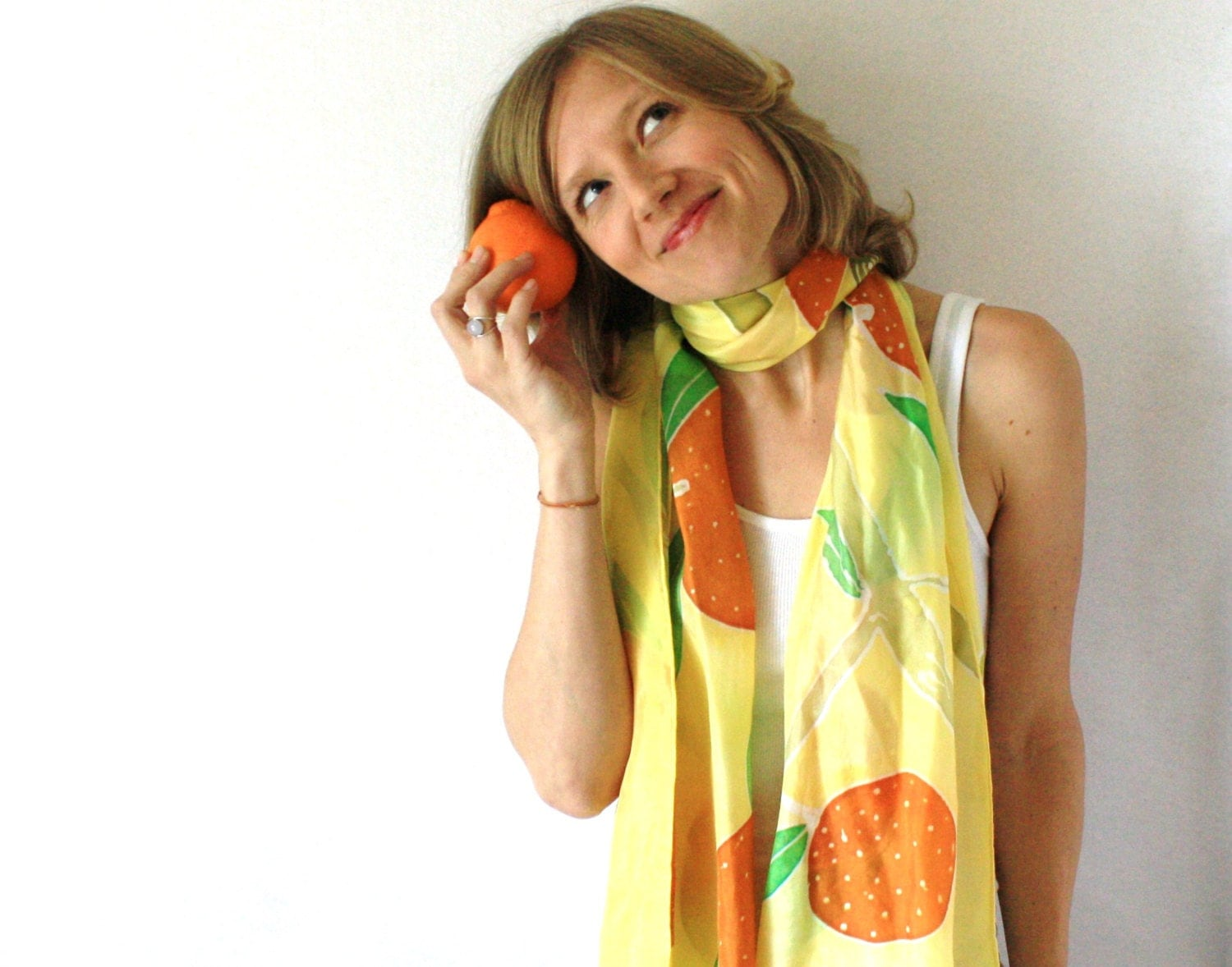Yellow Silk Scarf - Oranges Scarf - Hand Painted Silk Scarf - Spring Fashion - Mothers Day Gift - TheSilkMoon