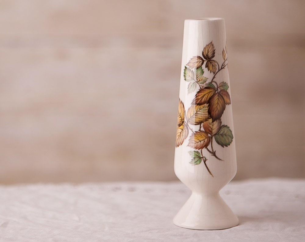 Vintage Bud Vase - Fall Leaf Pattern