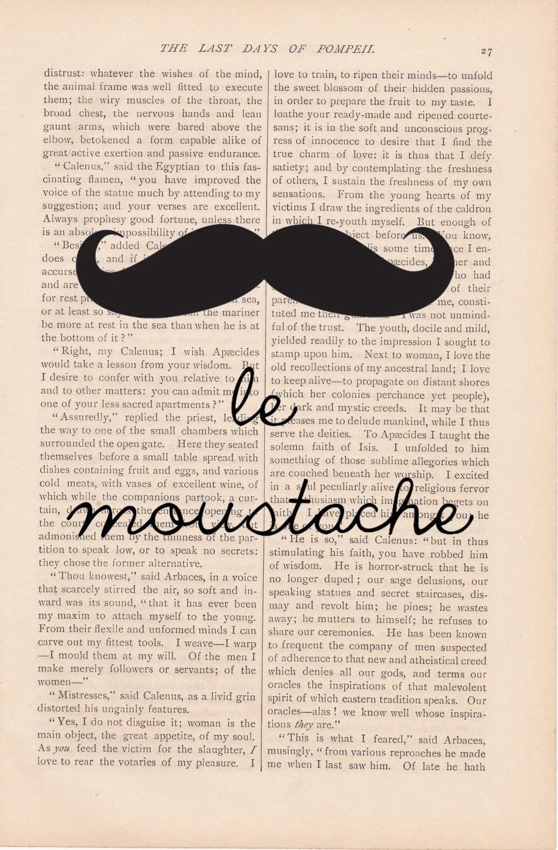 vintage dictionary page art LE MOUSTACHE print - vintage art book page print - mustache art print