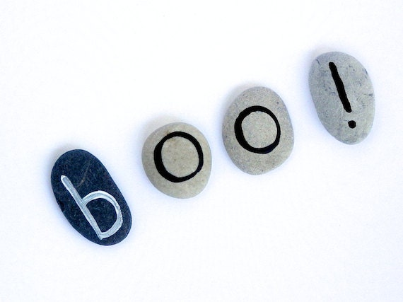 Halloween Boo, Magnet Letters, Beach Pebbles by Happy Emotions, Sea Stones, Rocks