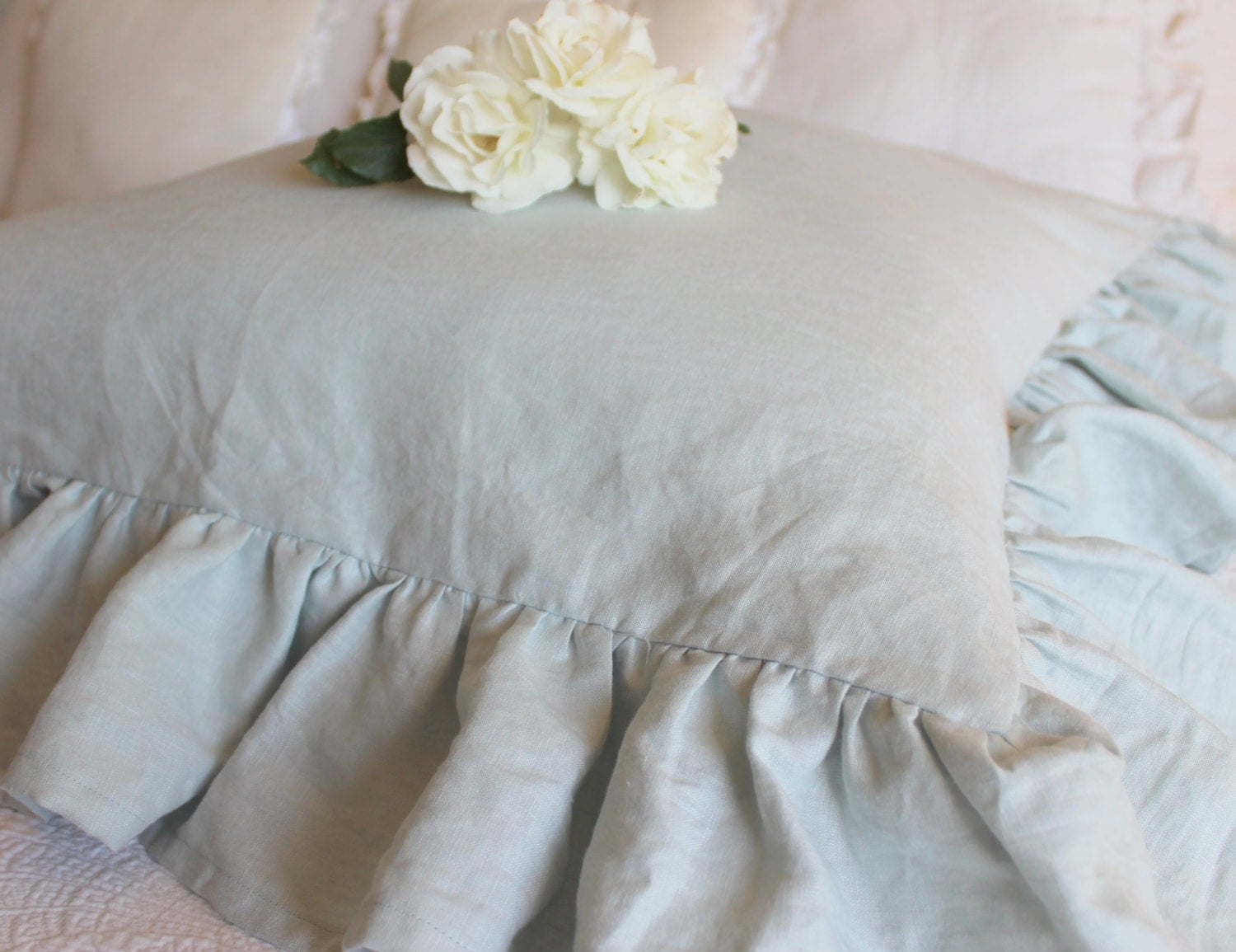 Perfectly Shabby Chic Ruffled Euro Sham in French Blue - tickingandtoile