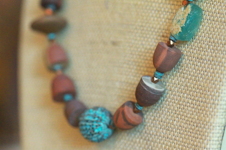 Printstone Jasper Necklace with Ancient Roman Glass and Verdigris Patina Brass Rare Australian Jasper Matching Earrings Gemstone Jewelry - CatchingWaves