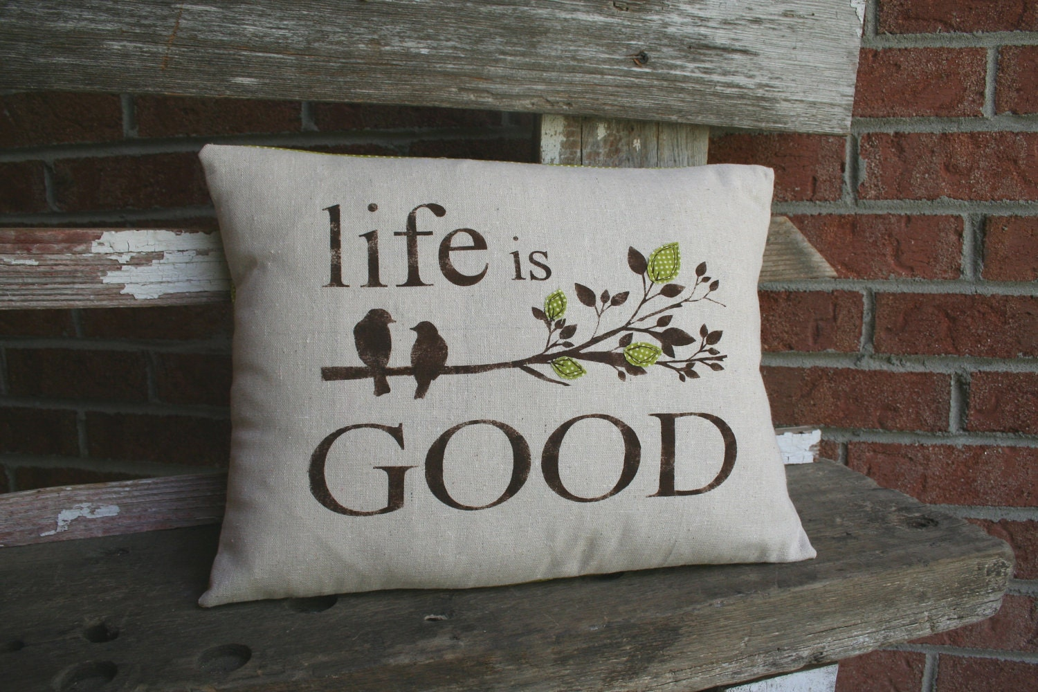 Shabby Pillow Sham - Life is Good (customizable to any colors)