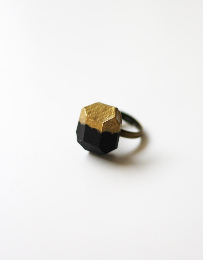 black gold dipped geo ring