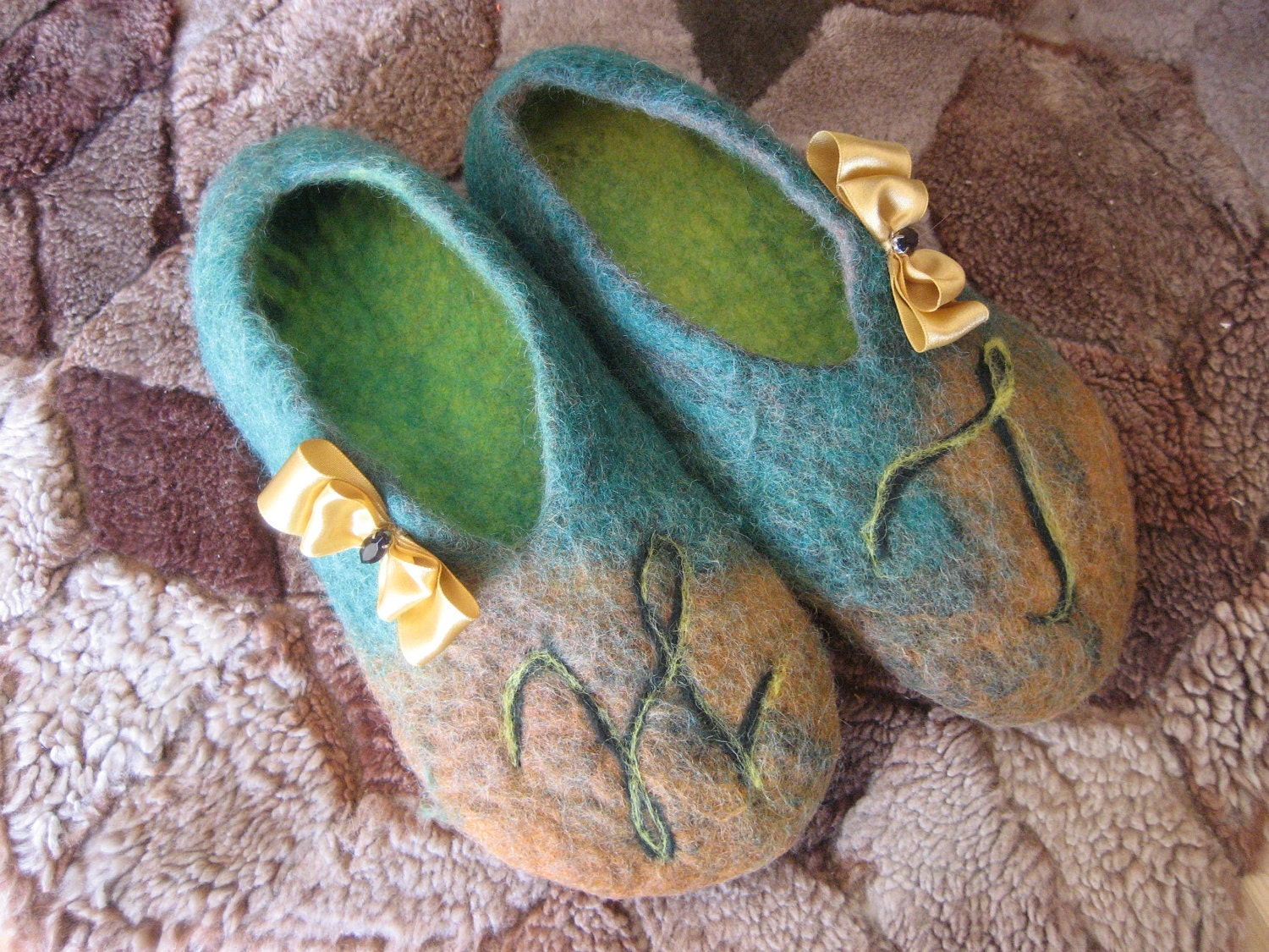 Felted personalized wool slippers with initials. Gift under 50. Made to order. Custom.