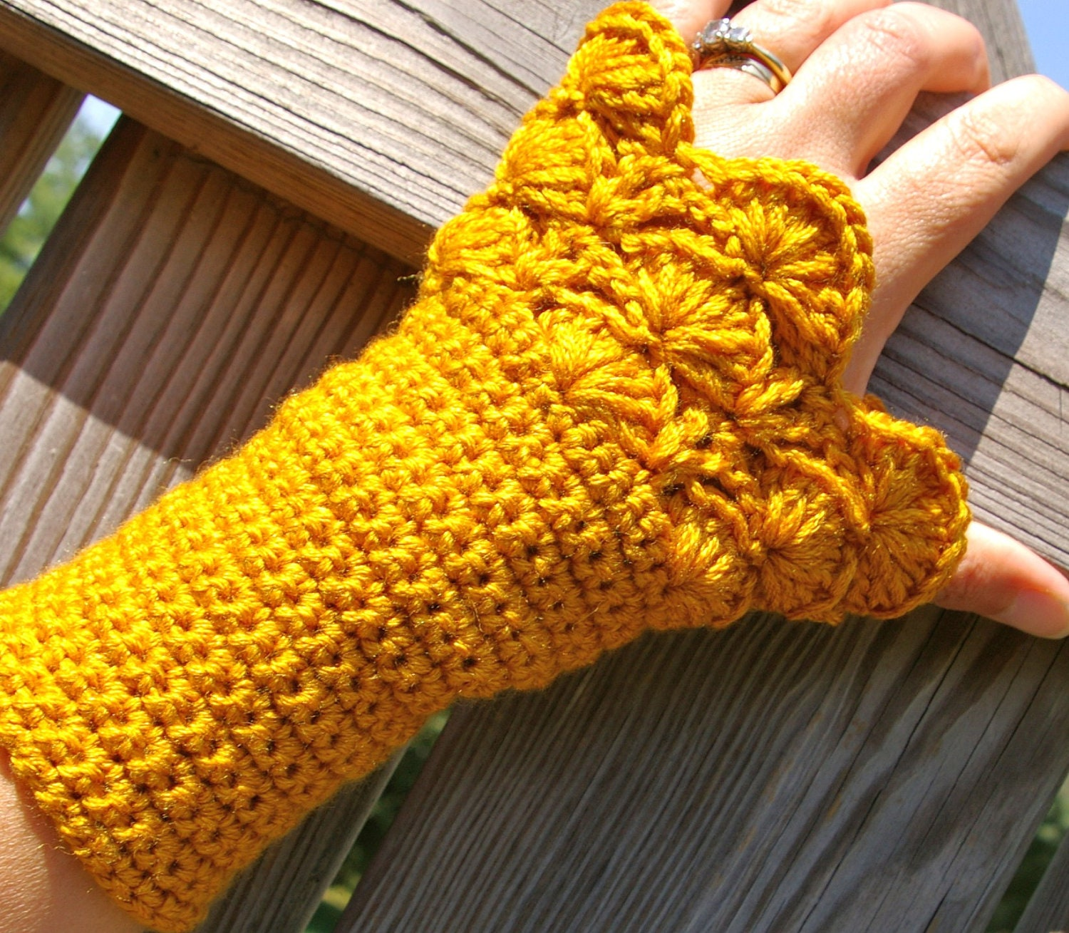 Arm Warmers Fingerless Gloves in Honey Gold Crochet
