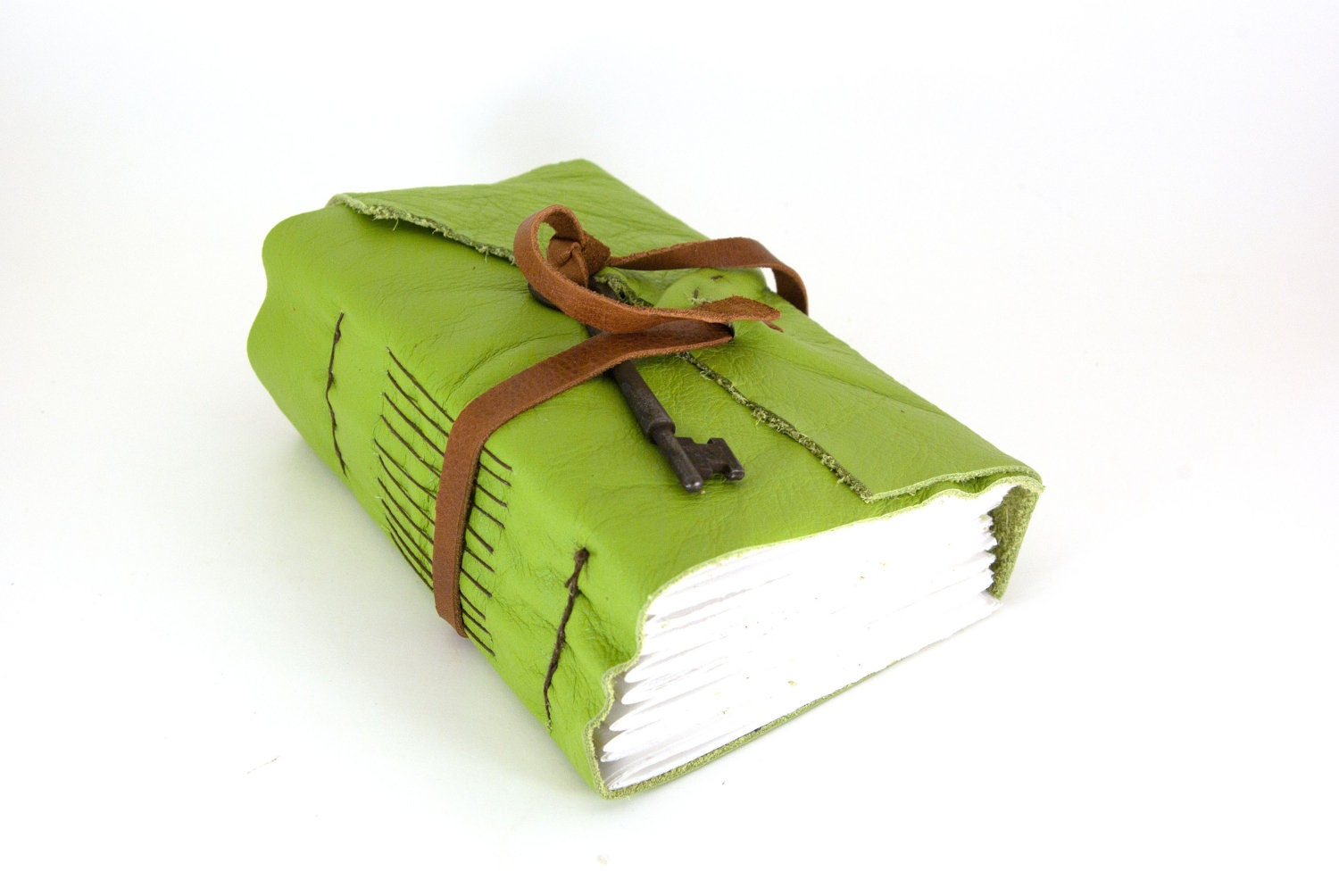 Apple Green Chunky Leather Journal (lg)- - ConduitPress