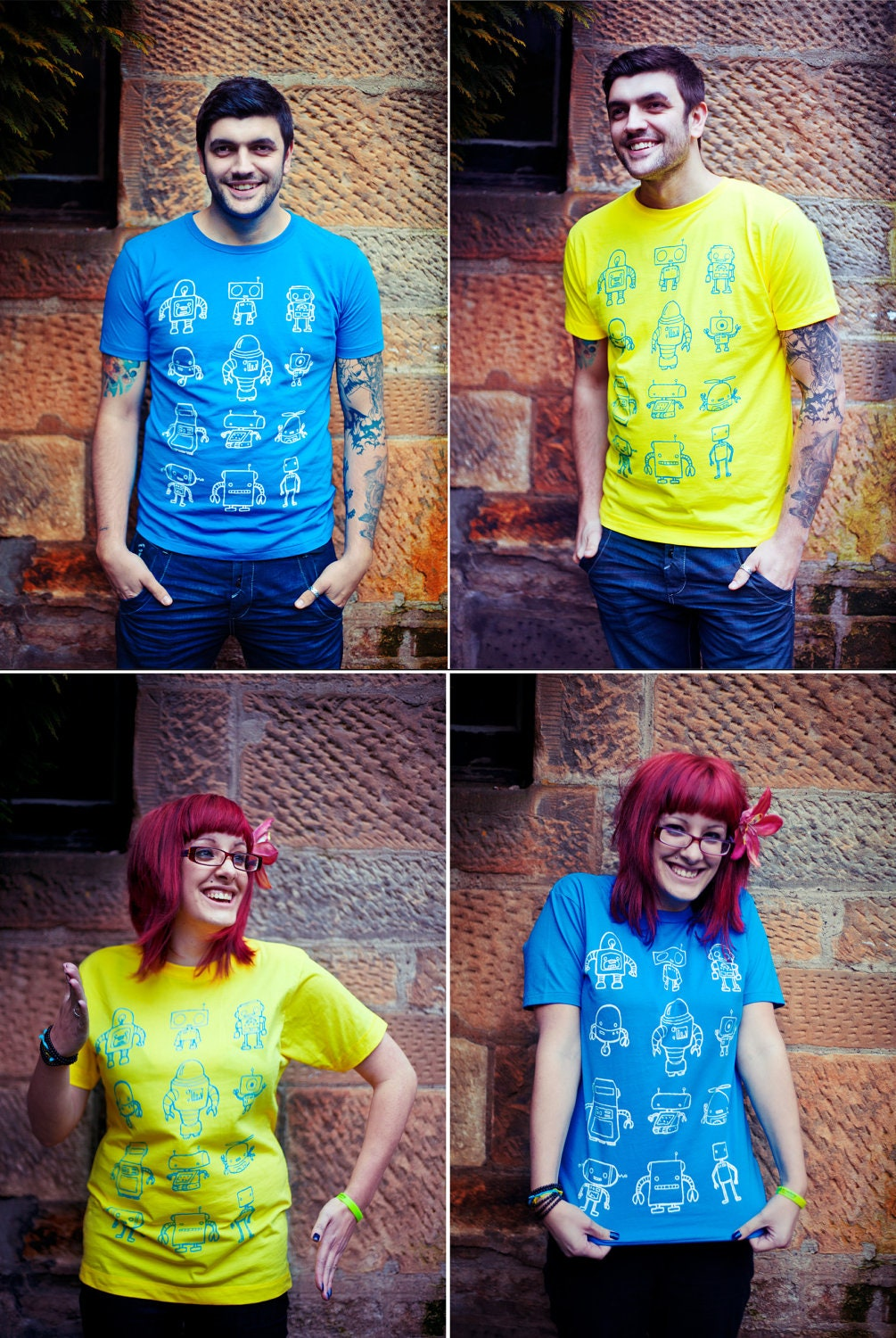 Robot T-shirt Unisex Small Medium and Large in 2 Colours.