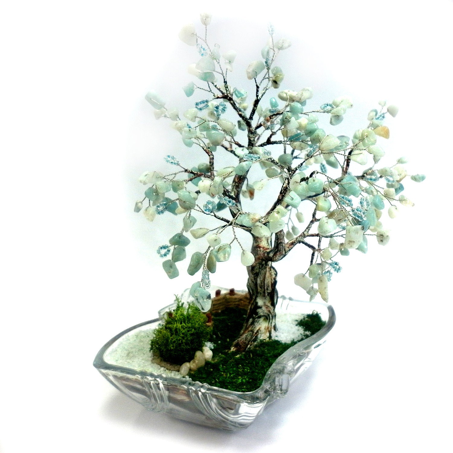 Hand Made Tree of Life with Natural Gemstones Aquamatrine and Light Blue Sead Beeds Home Decor, Office Decor Perfect Gift OOAK Made To Order - MKrisArt