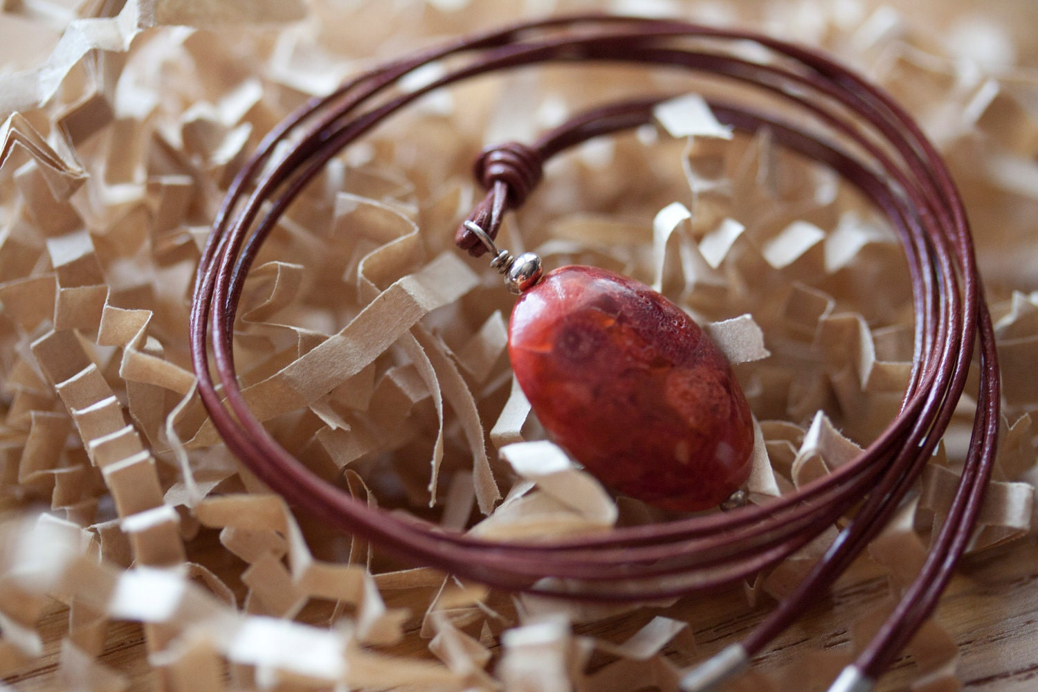 SALE - Bordeaux leather and sterling silver necklace with dyed coral.