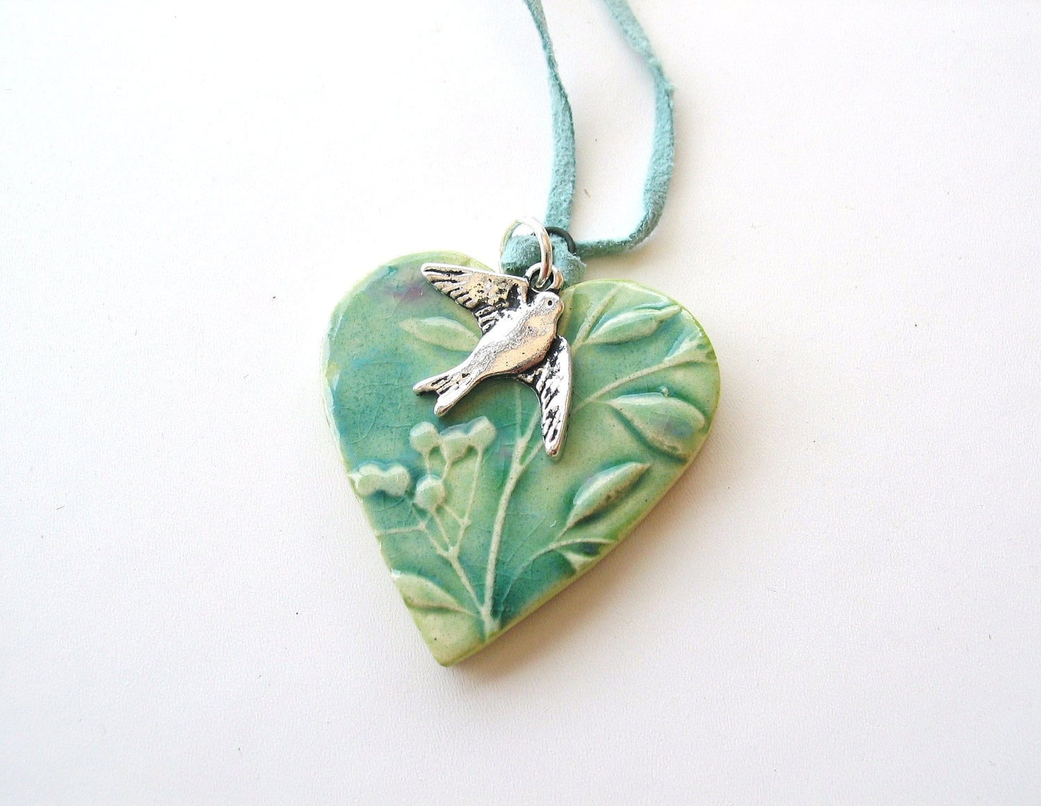 Heart pendant spring green turquoise pink glaze swallow seafoam suede Valentine's Day - damsontreepottery