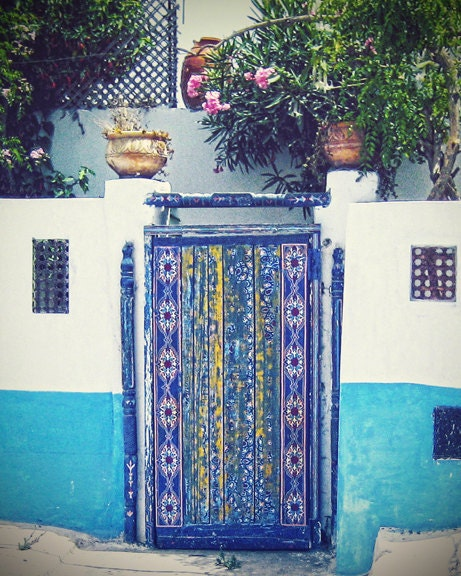 Travel photography door doorway blue turquoise tile collection home decor large wall art 8x10 fine art photo