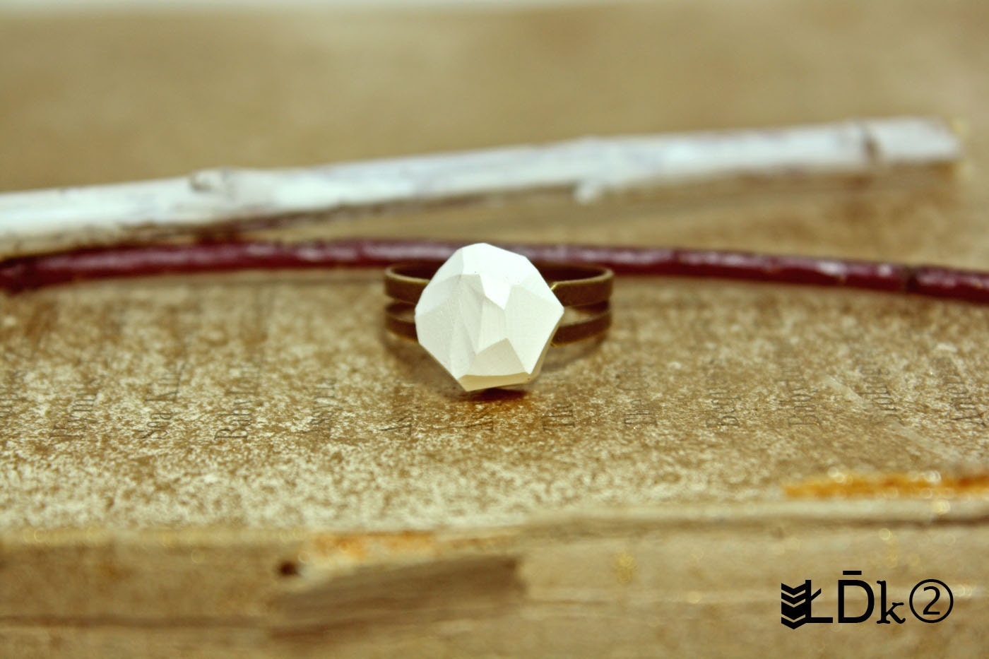 White Clay Stone Ring - PolyFusion Collection 2012