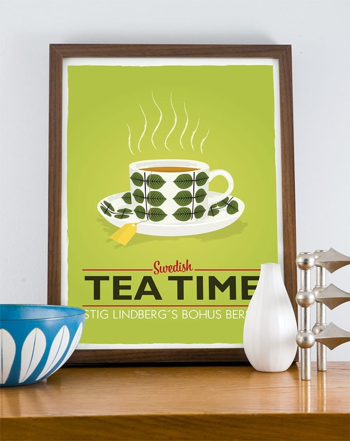 Stig Lindberg  Bersa - Swedish Tea Time  A3 poster LIME