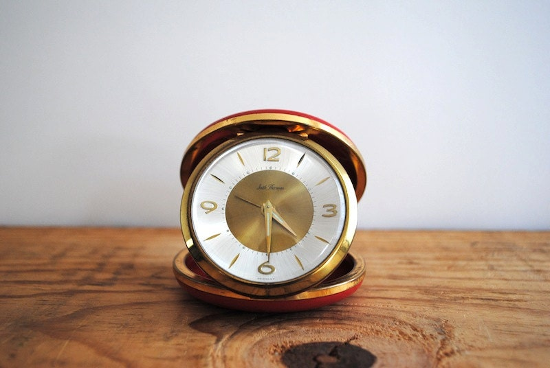 Vintage German Travel Alarm Clock by Seth Thomas Red Pocket Traveling Mid Century - labiblioteca