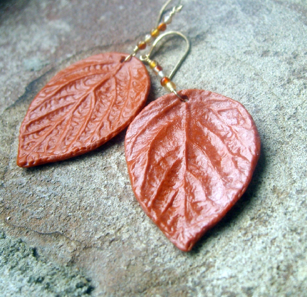 Leaf Earrings, Polymer Clay, Gold Filled, Carnelian, Nature Jewelry - mcclouddesigns