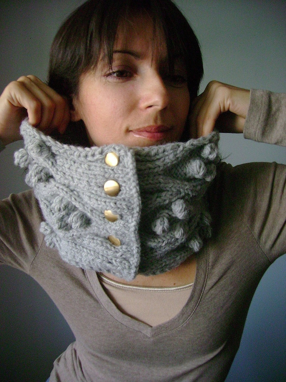 Chunky  bulky  handknit cowl - scarf - neckwarmer   Harbor Mist  - gray - silver -  cable knit