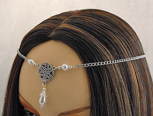 Item 1419 Pearl CELTIC TRIQUETRA medieval wedding tiara CIRCLET