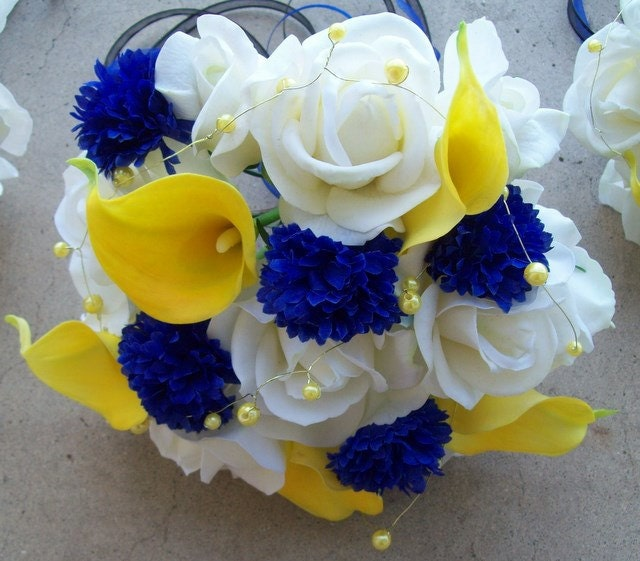 Royal Blue And Yellow Wedding Blue And Yellow Bouquets Bridal Flower
