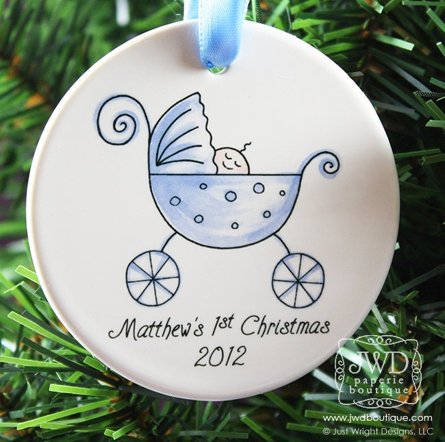 Baby's First Christmas Ornament Personalized New Baby Boy Blue Carriage Christmas Gift
