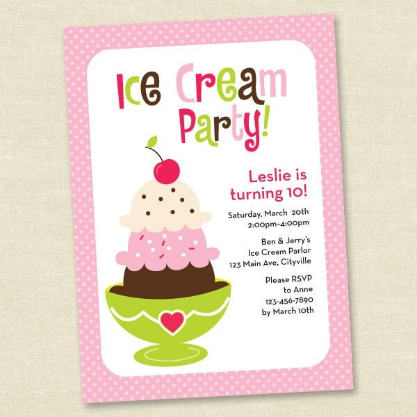 Ice Cream Party - Pink, Green and Brown - Printable Digital Invitation - Personal Use Only
