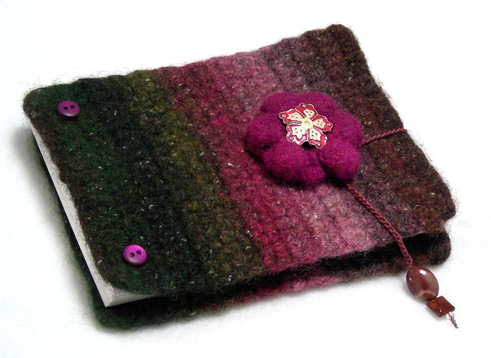 Inspiration book, post bound blank journal, felted wool covers, write - sketch - doodle - photos, forest green - purple - lavender