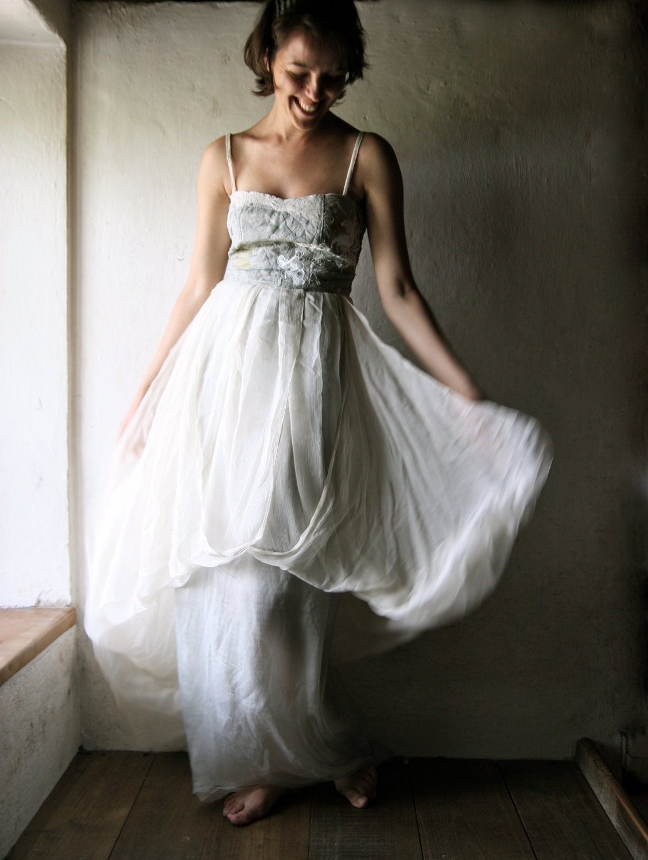 Long Wedding dress in aqua grey and ivory silk chiffon - maxi dress empire cut bridal gown - larimeloom